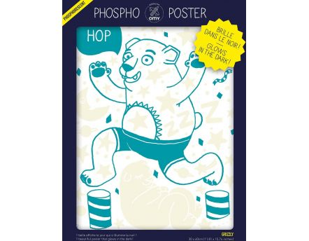 Poster phosphorescent grizzly 30 x 40 cm (Grizzly)