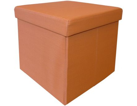 Pouf coffre pliable 2 en 1 (Orange)