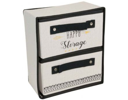 Rangement pliable 2 tiroirs Message (Happy storage)