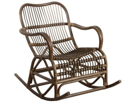 Rocking-chair en rotin (Gris)