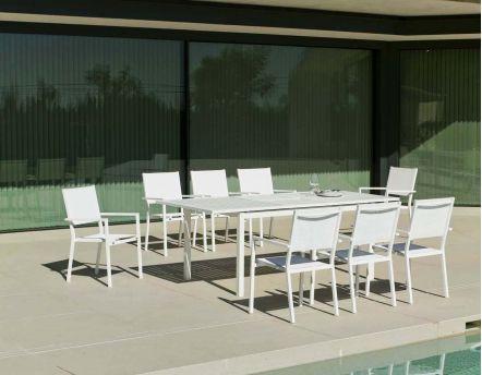 Salon de jardin en aluminium 8 places Rimona (Blanc)