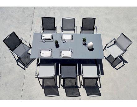 Salon de jardin contemporain 8 personnes Albi (Table anthracite + 4 fauteuils anthracite + 4 fauteuils gris)