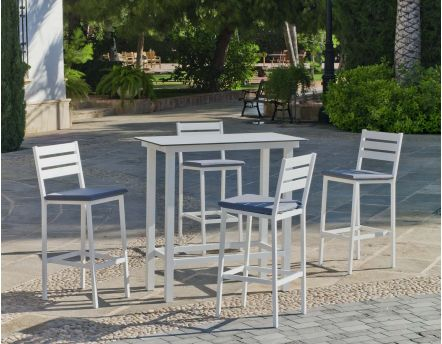 Salon de jardin haut en aluminium 4 places Anthonyna