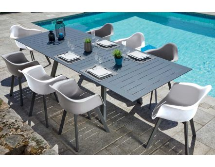 Salon de jardin moderne aluminium 8 personnes Jules (Table anthracite + fauteuils blancs et taupes)
