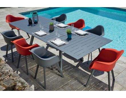 Salon de jardin moderne aluminium 8 personnes Jules (Table anthracite + fauteuils rouges et anthracites)