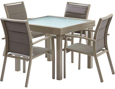 salon de jardin moderne 4 personnes modulo taupe - Table De Salon De Jardin