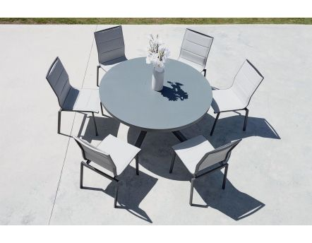 Salon de jardin table ronde + 6 chaises provence