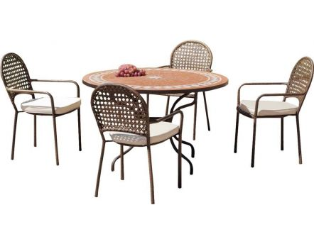 Salon de jardin table ronde et fauteuils 4 places