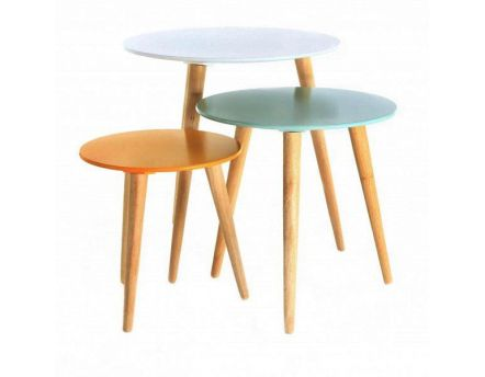 Tables gigognes colorées Stockholm (Lot de 3) (Blanc/Bleu/Jaune)
