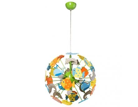 Suspension boule poissons enfants multicolore