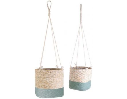 Suspension en jonc de mer My Little Market (Lot de 2) (Bleu vert)
