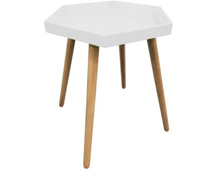 Table d'appoint hexagonale en MDF (Blanc)
