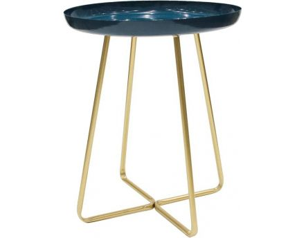 Table d'appoint plateau rond glossy (Bleu)