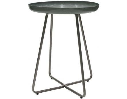 Table d'appoint plateau rond glossy (Gris)