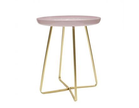 Table d'appoint plateau rond glossy (Rose)