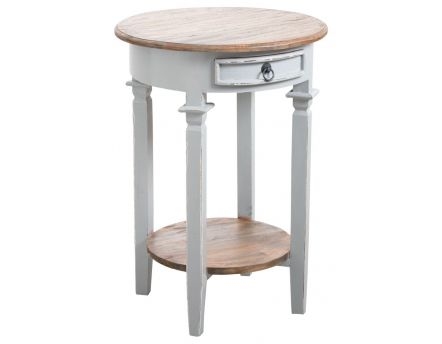 Table d'appoint ronde en bois gris