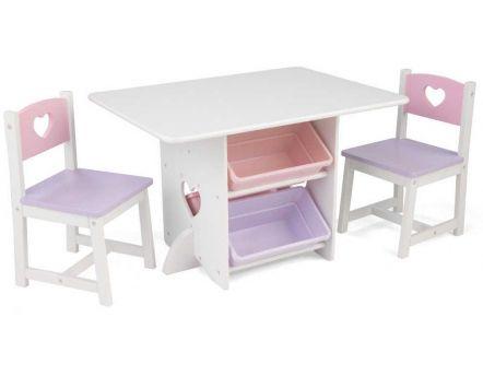 Table Chaises Et Bac Rangement Enfant En Bois Coeur
