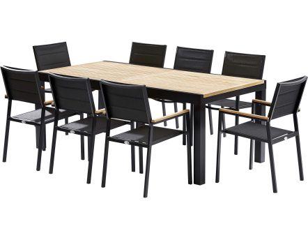Salon de jardin r sine encastrable 4 places noir cru - Table jardin moderne dijon ...