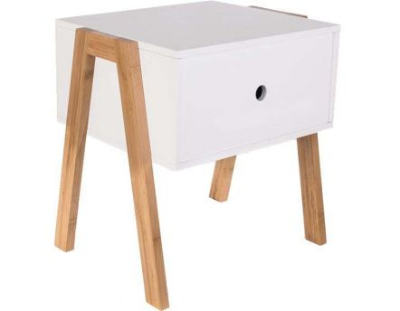 Table de chevet scandinave empilable (Blanc)