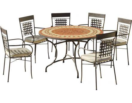 table de jardin ronde et fauteuils lorny vigo 6 fauteuils - Table De Jardin
