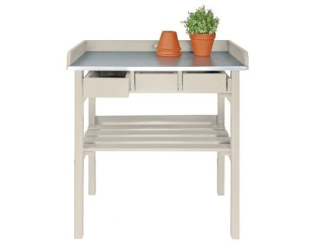 Table de jardinage en pin et zinc (Blanc)