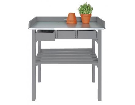Table de jardinage en pin et zinc (Gris)