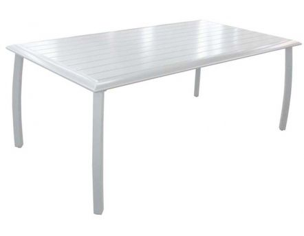 Table à lattes Azuro en aluminium blanc