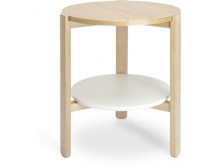 Table ronde en bois Hub (Blanc/Naturel)
