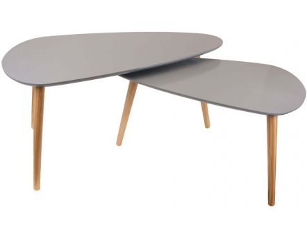 Tables basses gigognes Galet (Lot de 2) (Gris)