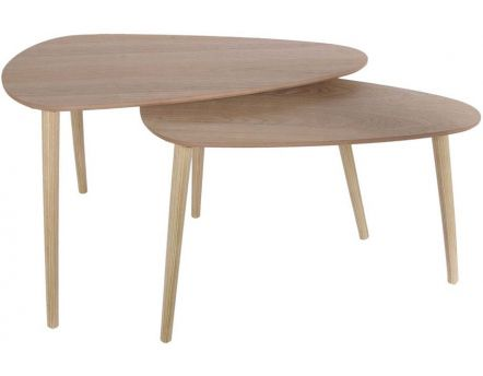 Tables gigognes en bois galet (Lot de 2) (Naturel)