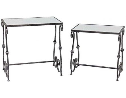 Tables gigognes en fer arabesques (Lot de 2)