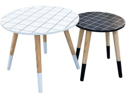 Tables gigognes plateau à carreaux (Lot de 2)