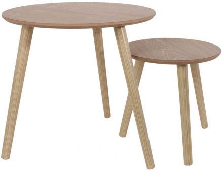 Tables gigognes rondes bois brut (Lot de 2)