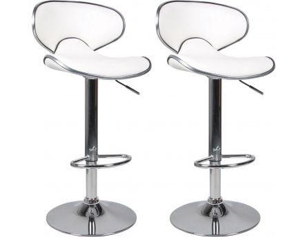 Tabouret de bar aspect cuir Ava (Lot de 2) (Blanc)