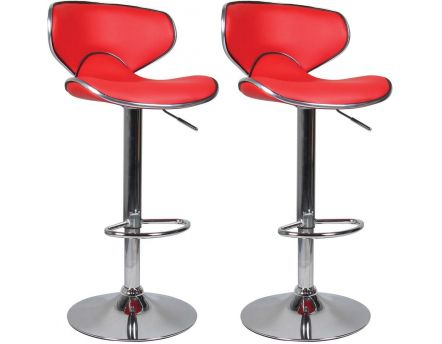 Tabouret de bar aspect cuir Ava (Lot de 2) (Rouge)