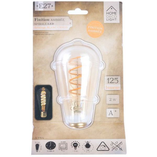 Ampoule longue ambrée avec spirale LED 14.2 cm - THE HOME DECO LIGHT