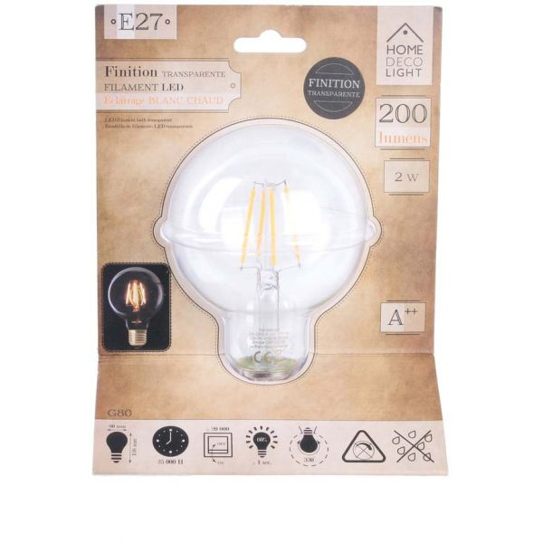 Ampoule ronde LED droit transparent 12 cm - THE HOME DECO LIGHT