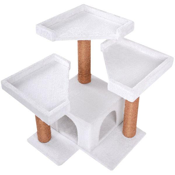 arbre chat 3 plateformes blanc. Black Bedroom Furniture Sets. Home Design Ideas