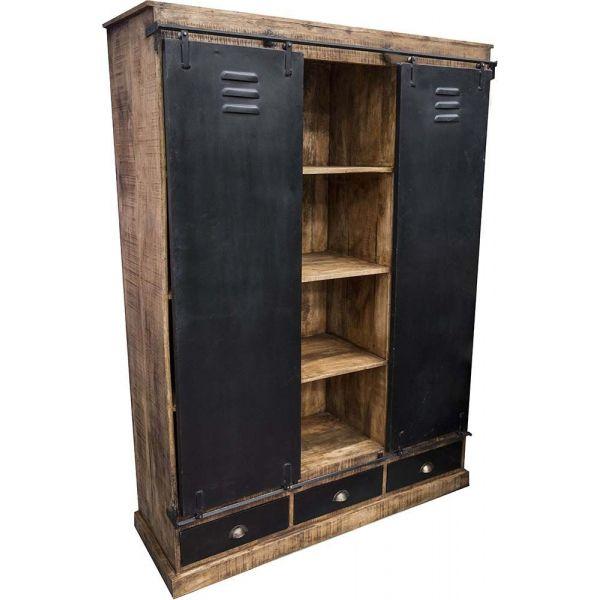 armoire industrielle 3 tiroirs et 2 portes coulissantes. Black Bedroom Furniture Sets. Home Design Ideas