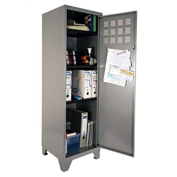 Armoire de rangement métal 1 porte (aluminium)