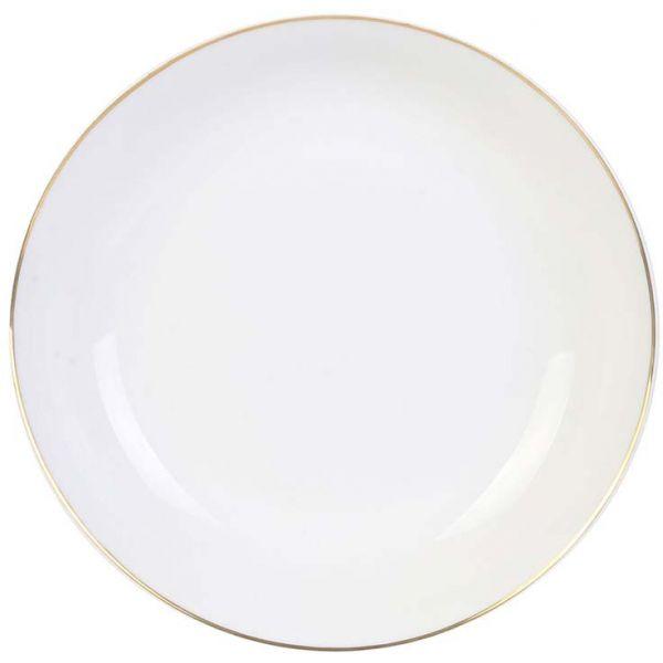 Assiette creuse en porcelaine avec liser/é dor/é 21 cm