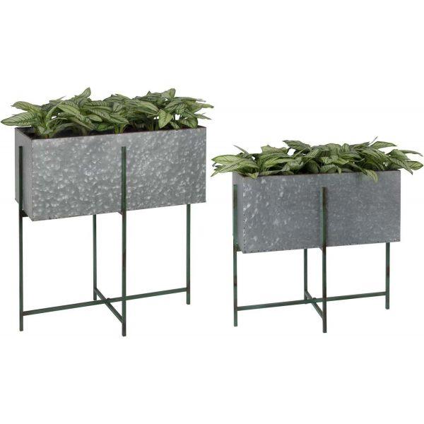 bac fleurs rectangulaire sur pied en fer lot de 2. Black Bedroom Furniture Sets. Home Design Ideas