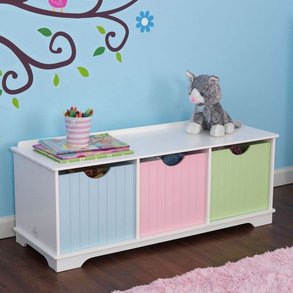 banc de rangement en bois avec tiroirs pastel. Black Bedroom Furniture Sets. Home Design Ideas