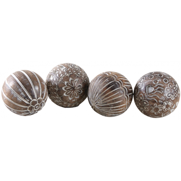 Boules en manguier motifs assortis (Lot de 4)