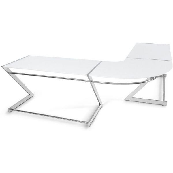 bureau d 39 angle glossy en bois blanc laqu et m tal. Black Bedroom Furniture Sets. Home Design Ideas