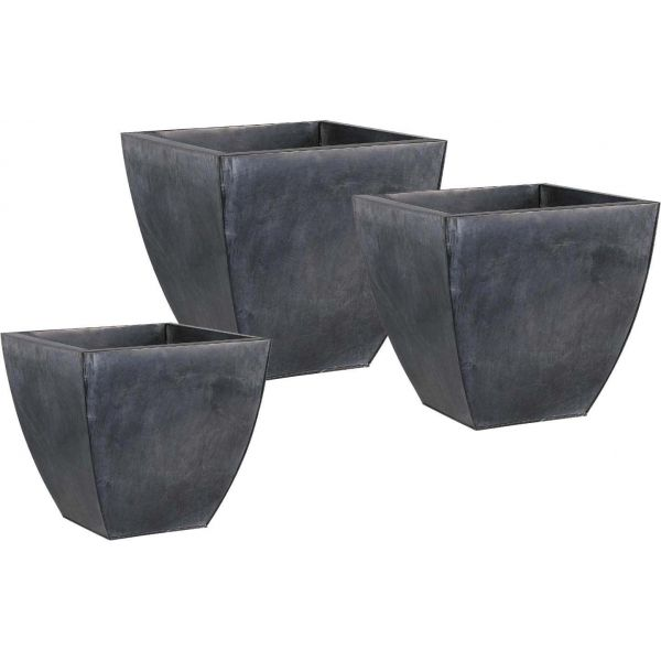 Cache pot en zinc noir (Lot de 3)