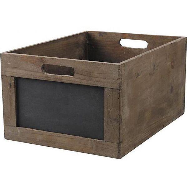 caisse de rangement en bois avec ardoise taille 1. Black Bedroom Furniture Sets. Home Design Ideas