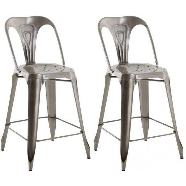 chaise de bar esprit industriel lot de 2 gris clair. Black Bedroom Furniture Sets. Home Design Ideas