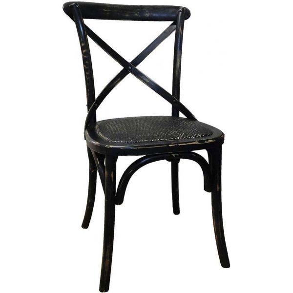 chaise de bistrot en bois vieilli noir. Black Bedroom Furniture Sets. Home Design Ideas