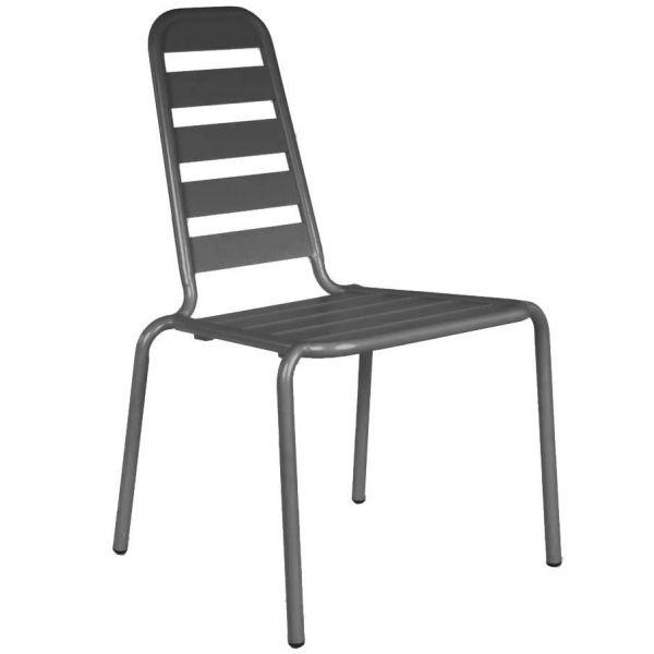 chaise empilable menu en aluminium lot de 2 gris. Black Bedroom Furniture Sets. Home Design Ideas